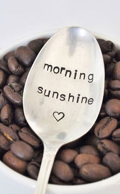 Morning Sunshine - Hand Stamped Vintage Coffee Spoon for Florida COFFEE LOVERS (TM) is just one of the products you might find in the With Love From Florida subscription box. I Love Coffee, My Coffee, Coffee Girl, Coffee Corner, Drink Coffee, Coffee Break, Stamped Spoons, Hand Stamped, Coffee Spoon