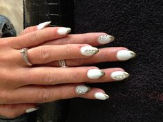 Wedding nails white & gold