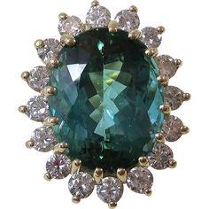 Vintage Estate 1960's Tourmaline & Diamond Engagement Wedding Birthstone Ring 14K