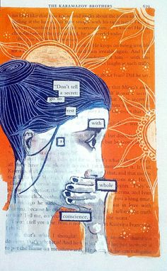 Black out poetry print Refrain by Flyaway69 on Etsy