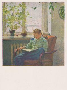 "T. Yablonskaya ""Reading"" Postcard -- 1956"