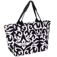 SilverHooks Womens Damask Insulated Lunch Tote Bag Black  White *** This is an Amazon Affiliate link. Continue to the product at the image link.