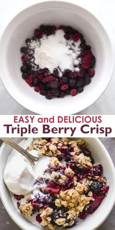 The easiest Triple Berry Crisp made with frozen raspberries blueberries and blackberries for a juicy berry filling nestled under a crispy oat topping. Köstliche Desserts, Delicious Desserts, Yummy Food, Berry Crisp Recipe, Good Healthy Recipes, Healthy Food, Healthy Eating, Snacks, Nutritious Meals