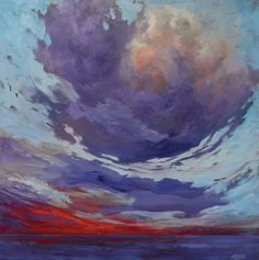 """""""Crimson Sky"""", 24x24, by artist Maureen Maryka #landscapepaintings #clouds #colourful #colorful #canadianart #red"""