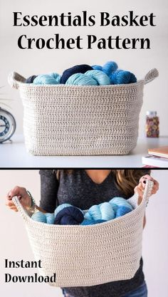 Essentials basket crochet pattern. Functional and attractive. Instant download crochet pattern. #basketpattern, #crochetbasket, #affiliate
