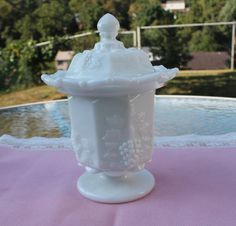 Westmoreland Milk Glass Paneled Harvest / Grape Pattern Footed Dish with Lid