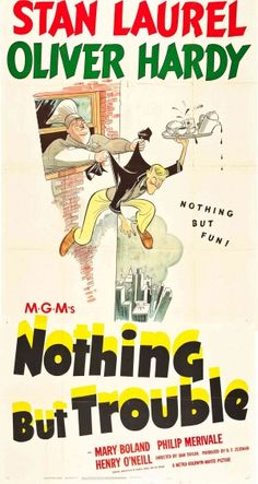 """Laurel and Hardy """"Nothing but Trouble"""" (1944) Movie Poster"""