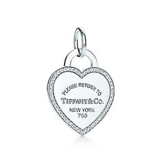 Return to Tiffany™ heart tag charm in 18k white gold and diamonds I want $1575