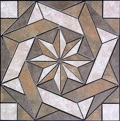 20 x 20 Tile Medallion Inlay - Daltile Continental Slate tile series Tile Art, Mosaic Art, Mosaic Glass, Mosaic Tiles, Marble Mosaic, Stained Glass Patterns, Mosaic Patterns, Rock Tile, Ayers Rock