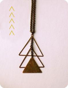 VIntage Brass Triangles, Oxidized Sterling, Santa Fe Navajo Inspired - Rex Adjustable Necklace...Lumafina