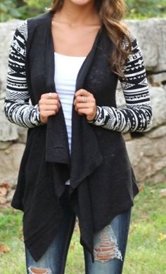 New Tribal Print Burnout Cardigan Black White Junior Large Women's Small | eBay