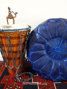 Leather Moroccan Pouff Ottoman, Blue Nile. Inspired2give.com.au