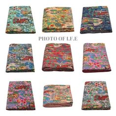 Indian Kantha Quilt Handmade Kantha Bedcover Kantha Throw 100% Cotton Blanket Gudari New Multi Floral Print Kantha Indian Bedding, Indian Quilt, Cotton Blankets, Cotton Quilts, Quilt Bedding, Bedspread, King Size Coverlets, Hand Printed Fabric, Printed Cotton