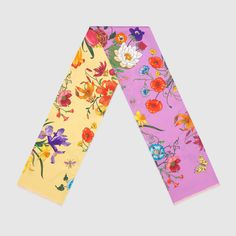 Gucci Women - Gucci Silk twill light rose and yellow flora print scarf - $260.00