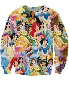 2017 women/men 3d Princess printed sweatshirt Snow White/Cinderella/Aurora/Ariel Mermaid/Belle Princess sweatshirts hoodies