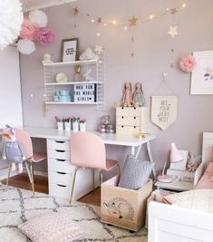 Inspiring Girls' Bedroom Ideas Feeling inspired to change the decor of your daughter's room? Check out our favorite girls' room ideas.Feeling inspired to change the decor of your daughter's room? Check out our favorite girls' room ideas. Cute Bedroom Ideas, Girl Bedroom Designs, Girls Bedroom Colors, Gurls Bedroom Ideas, Design Bedroom, Pretty Bedroom, Baby Girl Bedroom Ideas, Ikea Room Ideas, Girls Bedroom Accessories