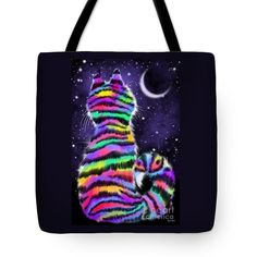 Rainbow Tiger Cat Tote Bag by Nick Gustafson