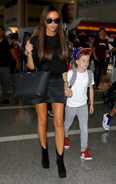 Victoria Beckham Photos: The Beckham Family Departing On A Flight At LAX