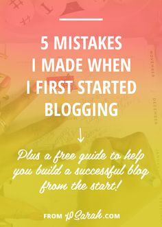 Seven years, one freelance business, over 1.5 million pageviews, and almost 9,000 comments later I have finally got it figured out, so here are five of my beginner blogging mistakes and how I should have gone about things differently. Take these tips and my free worksheets and get straight to building your blog like a pro!