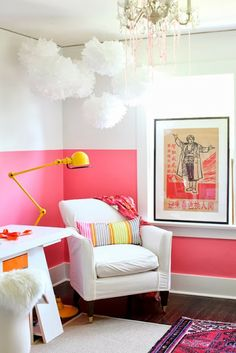 Two-tone walls. love the bold on bottom and white on top via siftandscout.blogspot.com