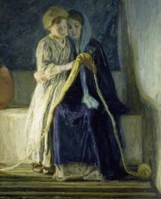 Artist: Henry Ossawa Tanner Title: Christ and His Mother Studying Scripture Medium: Painting- oil on canvas Dimensions: 123.83 cm X 101.6 cm Location: Dallas Museum of Art