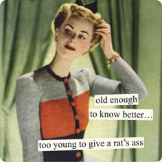 Magnets from Anne Taintor: old enough to know better... too young to give a rat's ass