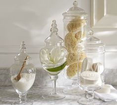 Shop pb classic glass apothecary jar from Pottery Barn. Our furniture, home decor and accessories collections feature pb classic glass apothecary jar in quality materials and classic styles. Glass Apothecary Jars, Glass Jars, Glass Canisters, Spa Like Bathroom, Bathroom Ideas, Bathroom Jars, Apothecary Bathroom, Dream Bathrooms, Bathroom Storage
