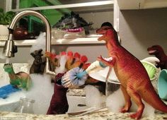 """DINOVEMBER """"Every year, my wife and I devote the month of November to convincing our children that, while they sleep, their plastic dinosaur figures come to life."""" Parenting: You're doing it right. Plastic Dinosaurs, Dinosaur Toys, Dinosaur Stuffed Animal, Dino Toys, November Month, Parenting Done Right, Parenting 101, Practical Jokes, Baby Center"""
