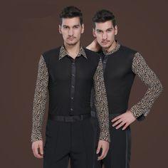 2017 new fashion Leopard men dance shirt Competition Uniforms Ballroom Modern Salsa Tango Samba latin tops men Dance wears black #Affiliate