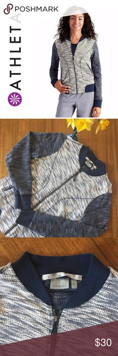 ATHLETA • Slub Bombastic Jacket Athleta Slub Bombastic Jacket in Blue Heather • Slub Knit • Zippered Pockets • Full-Zip Front • 100% Cotton • Good Condition (some piling but not noticeable with type of knit -see pic) • Just in time for Spring ☀️☀️ Athleta Jackets & Coats