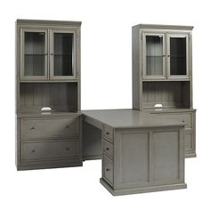 Tuscan Desk Return includes the right leg, left cabinet and work surface. The Hutch coordinates with the Double Lateral File to create display space and file storage.