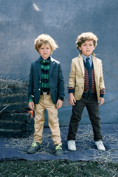 "Avoid the ""matchy-matchy"" look and instead layer the kids in different neutrals and add in small pops of color (the sweaters add color underneath another neutral color - the jackets)"