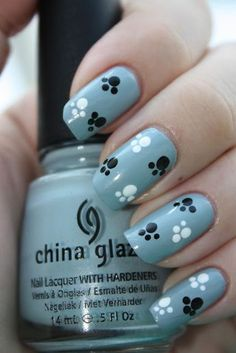 33 Simple And Easy Nail Art Design Idea You Can Do Nails easy nail designs Dog Nail Art, Animal Nail Art, Cute Nail Art, Nail Art Diy, Animal Nail Designs, Fancy Nails, Trendy Nails, Bling Nails, Paw Print Nails