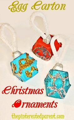 Egg Carton Christmas Ornaments - Easy Christmas craft for kids
