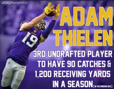 Congratulations Adam Thielen! Nfl Vikings, Minnesota Vikings Football, Best Football Team, Football Players, Football Stuff, Vikings Cheerleaders, Viking Quotes, Nfc North, Purple Reign