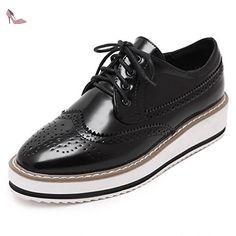 AgooLar Femme Couleur Unie Verni à Talon Bas Lacet Carré Chaussures Légeres, Noir, 39 - Chaussures agoolar (*Partner-Link)