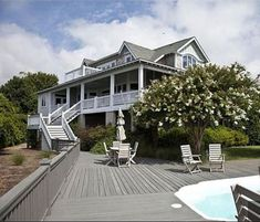 Tour the real Revenge TV show beach house, located in North Carolina. Hamptons House, The Hamptons, Revenge Tv Show, Beachfront House, Southport, Waterfront Homes, Building A Deck, Celebrity Houses, Coastal Homes