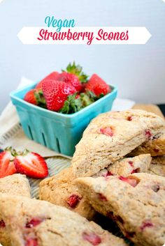 Delicious and whole grain #Vegan Strawberry #Scones. Impress your guests!