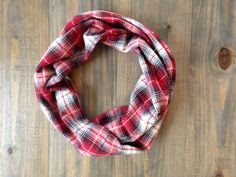 Red and Black Flannel Infinity Scarf by KutKloth on Etsy, $12.00