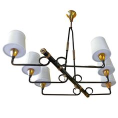 1stdibs | French Iron & Brass Asymmetrical Chandelier After Jean Royere
