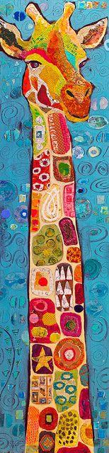 Paper Paintings: Gustav Giraffe and the Year of the Giraffe by Elizabeth St. Hilaire Nelson / always outstanding creations Art Du Collage, Giraffe Art, Giraffe Head, Giraffe Painting, Art And Illustration, Giraffe Illustration, Drawn Art, Inspiration Art, Art Design