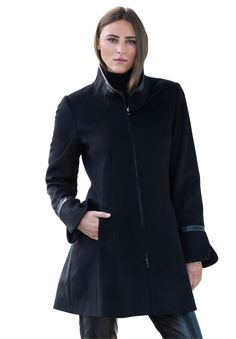 George Simonton Zip-Front Coat   Plus Size   Jessica London This faux leather-trim coat in classic black and three quarter length is will take you from day to night in style. Play around with the collar, unzipped as a stand collar for the day, and zipped up as funnel collar for a night out. Tall boots create a downtown chic look.