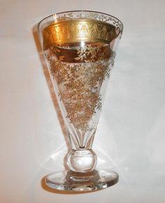Fostoria ~ #4128 Gold Encrusted Floral Etch ~ Vase picclick.com