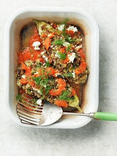 This stuffed aubergine recipe from Jamie Oliver is filled with soft rice and lentils for a beautifully flavourful but filling vegetarian dinner dish. Veggie Recipes Healthy, Tasty Vegetarian Recipes, Vegetarian Dinners, Rice Recipes, Vegetable Recipes, Dinner Recipes, Cooking Recipes, Dinner Ideas, Meal Ideas