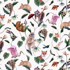 Badgers of Bohemia - Cream Bohemian Palms Wallpaper