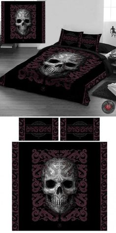 Angel Clothing Gothic, Steampunk and Fantasy Shop Best Duvet Covers, Double Duvet Covers, Duvet Cover Sets, Skull Bedroom, Gothic Bedroom, Skull Furniture, Gothic Furniture, Skull Decor, Skull Art