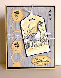 Stampin' Up! ... handmade birthday card ... Wetlands .. gray and light orange ... Canadian Goose on a tag ... luv the column of  hexagons with some hollow and some with shorebirds ... dove gray wood grain embossed background ...
