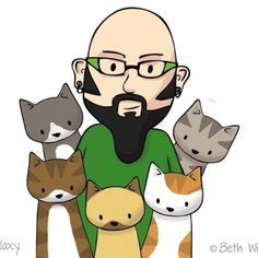 Jackson Galaxy the cat daddy and his kitties:):) Love him!!!!  Saves the lives of cats!