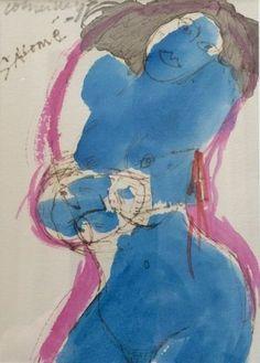 """Salomé - gemengde techniek op papier - gesigneerd - 1997  Uniek exemplaar van Corneille uit privé- collectie. Door Corneille gemaakt met het oog op gebruik als illustraties bij een boek van Oscar Wilde (""""Salome""""). Gesigneerd in potlood """"Corneille '97"""" en """"Salome"""". Afmetingen 44cm x 39 cm (kader inbegrepen) Werk en kader in perfecte staat. Achter glas in kader. v 1950€"""