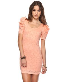 Puffed Shoulder Lace Dress- i just bought this. Sexy Summer Dresses, Sexy Dresses, Party Dresses, Lace Dresses, Super Cute Dresses, Cheap Dresses, Affordable Dresses, Top Mode, Vestidos Sexy